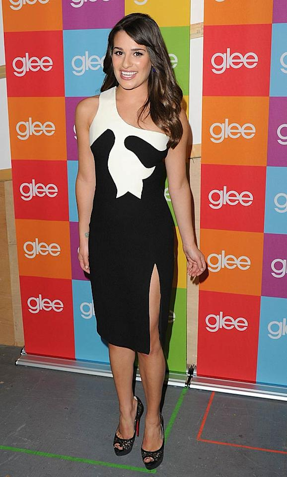 "Lea Michele looked sexy yet incredibly sophisticated at last week's ""Glee"" Q&A thanks to her Versace Fall 2011 dress, which featured a thigh-high slit. Jason Merritt/<a href=""http://www.gettyimages.com/"" target=""new"">GettyImages.com</a> - May 4, 2011"