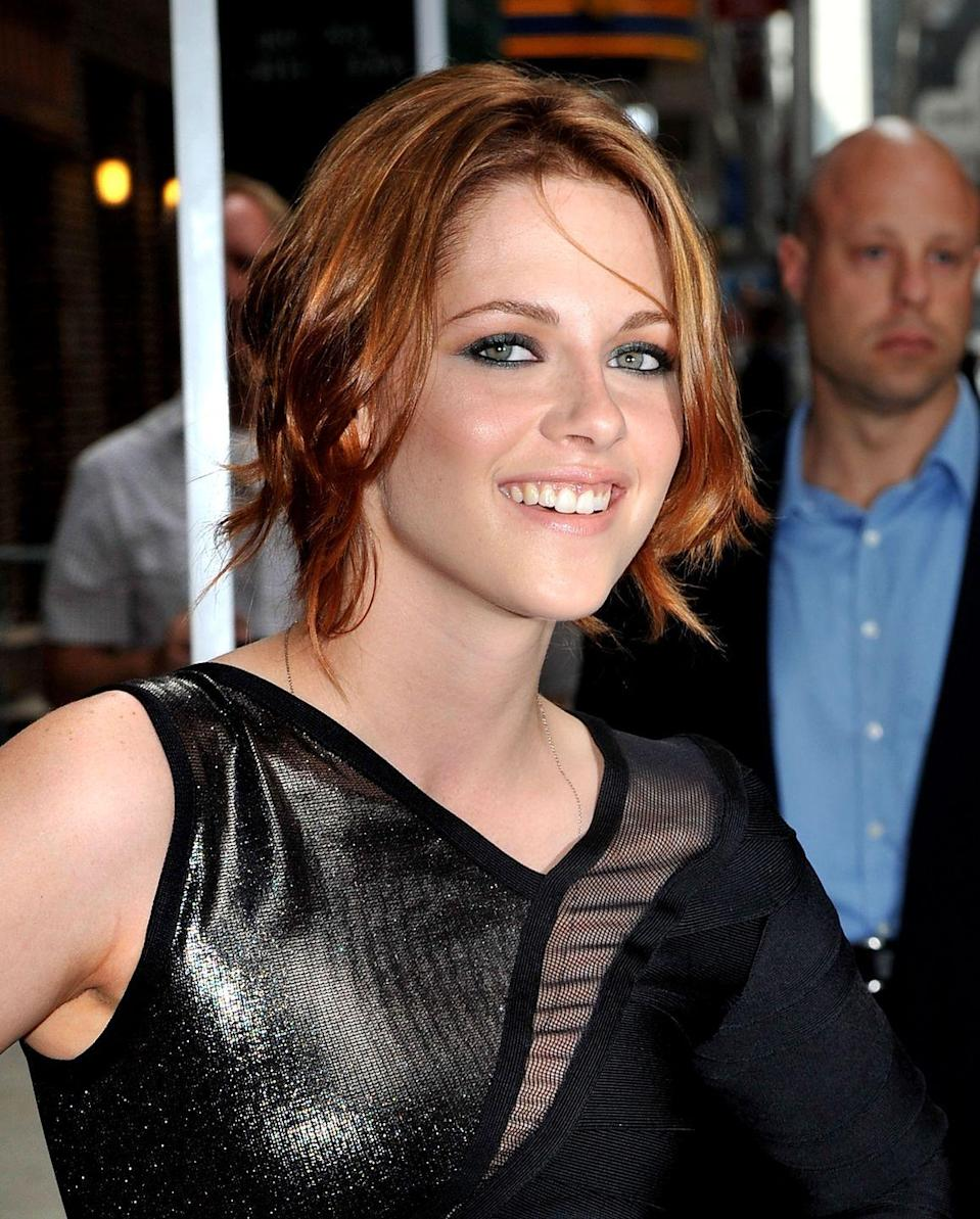 """<p>Short and fiery, actress <strong>Kristen Stewart's</strong> <a href=""""https://www.goodhousekeeping.com/beauty/hair/g2449/shag-haircuts-ideas/"""" rel=""""nofollow noopener"""" target=""""_blank"""" data-ylk=""""slk:shag-like haircut"""" class=""""link rapid-noclick-resp"""">shag-like haircut</a> looks natural and easy to manage, thanks to flattering, slightly off-balance layers. </p>"""