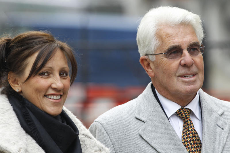 "FILE - This is a Thursday, Feb. 9, 2012 file photo of celebrity publicist Max Clifford, right, accompanied by his wife, Jo Westwood, as Clifford  arrives to testify at the final day of the first phase of the Leveson Inquiry, in central London. British police Thursday Dec. 6, 2012 arrested prominent publicist Max Clifford in connection to the broad investigation into child sex abuse spurred by the Jimmy Savile case.  Clifford's lawyer, Charlotte Harris, said Clifford would assist the police ""as best he can with their inquiries"" following his arrest by detective investigating the Savile scandal.  (AP Photo/Lefteris Pitarakis, File)"