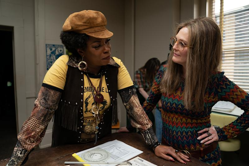 Lorraine Toussaint as Florynce Kennedy and Julianne Moore as Gloria Steinem in Julie Taymor's new film, The Glorias. (Dan McFadden/Roadside Attractions)