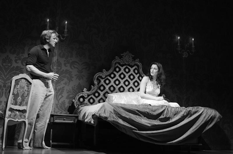 """This undated photo provided by Boneau/Bryan-Brown shows, Daniel Craig, left, as Robert, and Rachel Weisz as Emma, in Harold Pinter's """"Betrayal,"""" directed by Mike Nichols, at the Barrymore Theatre in New York. (AP Photo/Boneau/Bryan-Brown, Copyright Brigitte Lacombe)"""