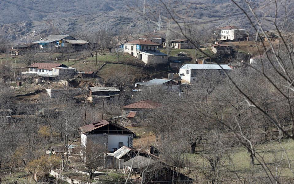 Abandoned houses in the Armenian village of Mets Tagher or Böyük Tağlar in Nagorno-Karabakh. The town was populated by Armenian residents of the Artsakh Republic before the area was re-taken by Azerbaijani forces during the 44-day war in 2020. - Sam Tarling/Sam Tarling
