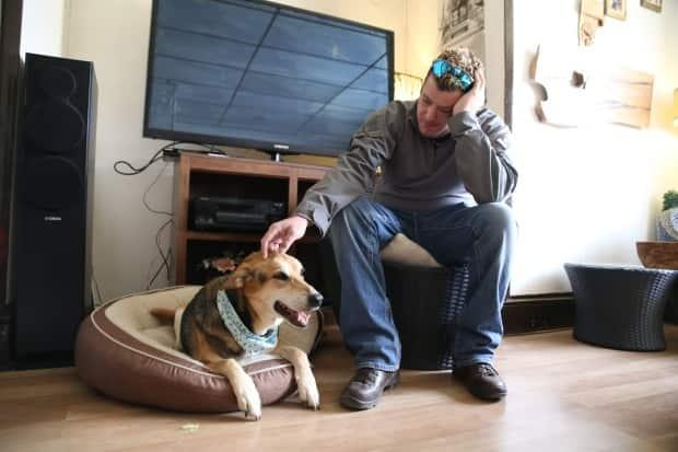 Luna was trained to distract Geoff Logue when he'd get sad or overwhelmed. He was able to reduce the amount of medication he was taking for PTSD after getting the dog.