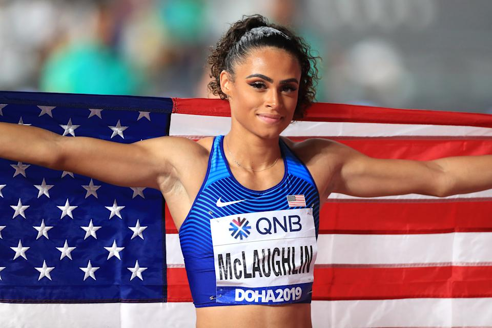 USA's Sydney McLaughlin celebrates winning silver in the 400 Metres Women's Final during day eight of the IAAF World Championships at The Khalifa International Stadium, Doha, Qatar. (Photo by Mike Egerton/PA Images via Getty Images)
