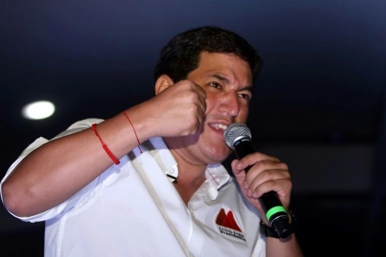 Ecuadoran presidential candidate Andres Arauz gives a speach during the closing of his campaign at the Centro Cultural Deportivo Cumanda in Quito, on Apri 8, 2021