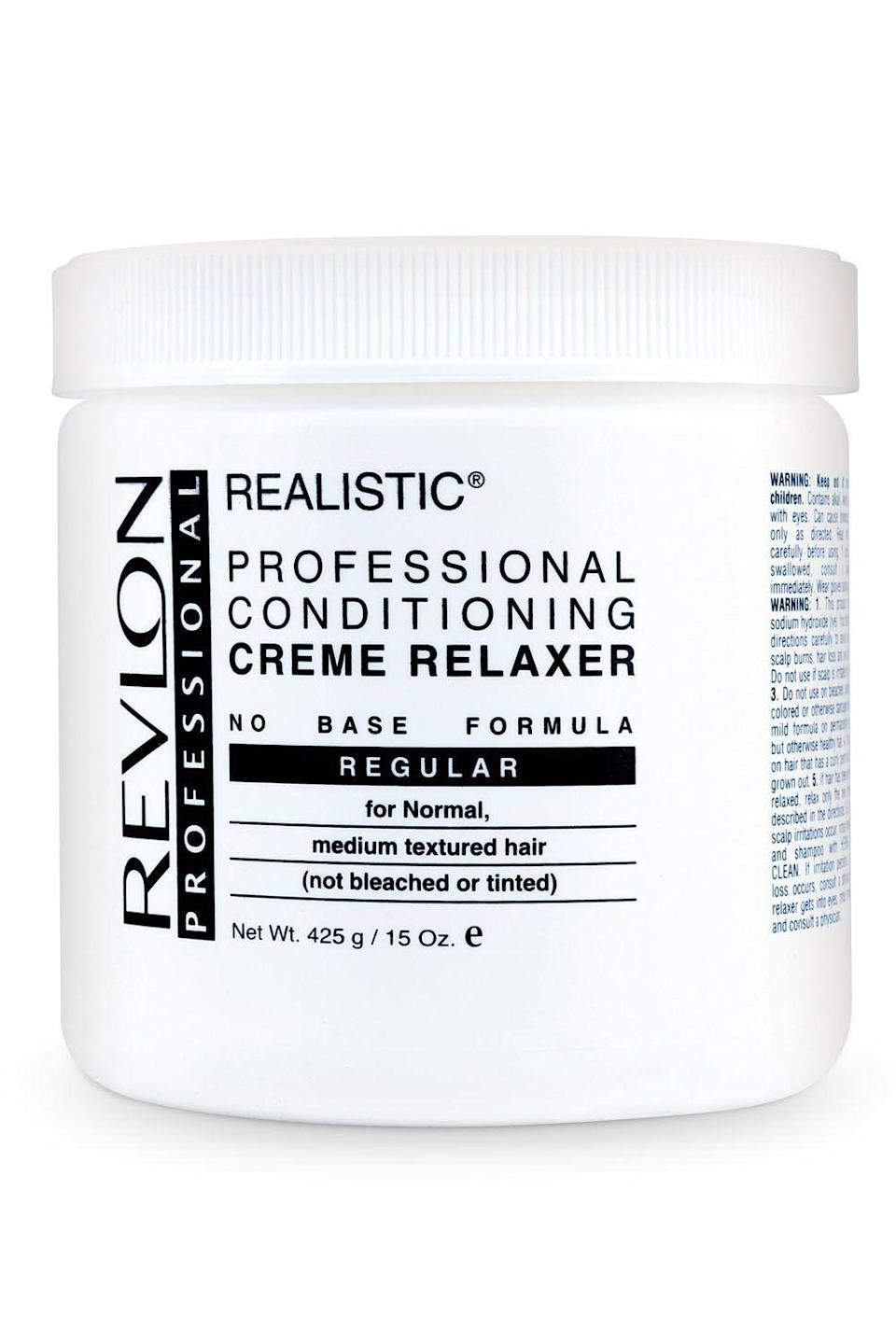 """<p><strong>Revlon Professional</strong></p><p>sallybeauty.com</p><p><strong>$22.99</strong></p><p><a href=""""https://go.redirectingat.com?id=74968X1596630&url=https%3A%2F%2Fwww.sallybeauty.com%2Fhair%2Ftextured-hair%2Fperms-and-straighteners%2Fstraighteners%2Fregular-conditioning-creme-relaxer%2FREVPRF1.html&sref=https%3A%2F%2Fwww.cosmopolitan.com%2Fstyle-beauty%2Fbeauty%2Fg33368236%2Fbest-hair-relaxer%2F"""" rel=""""nofollow noopener"""" target=""""_blank"""" data-ylk=""""slk:Shop Now"""" class=""""link rapid-noclick-resp"""">Shop Now</a></p><p>While this hair relaxer is powerful (seriously, your <a href=""""https://www.cosmopolitan.com/style-beauty/beauty/a63825/hacks-for-fuller-hair/"""" rel=""""nofollow noopener"""" target=""""_blank"""" data-ylk=""""slk:thick hair"""" class=""""link rapid-noclick-resp"""">thick hair</a> doesn't stand a chance), it won't dry out or break off your hair. In fact, it does just the opposite—<strong>the formula straightens and conditions your hair gently, </strong>making it softer and smoother than you ever imagined it could be. </p>"""