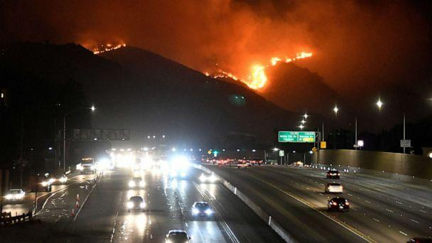 PHOTO: The Getty Fire burns next to the 405 freeway in the hills of West Los Angeles, Calif. Oct. 28, 2019. (Gene Blevins/Reuters)