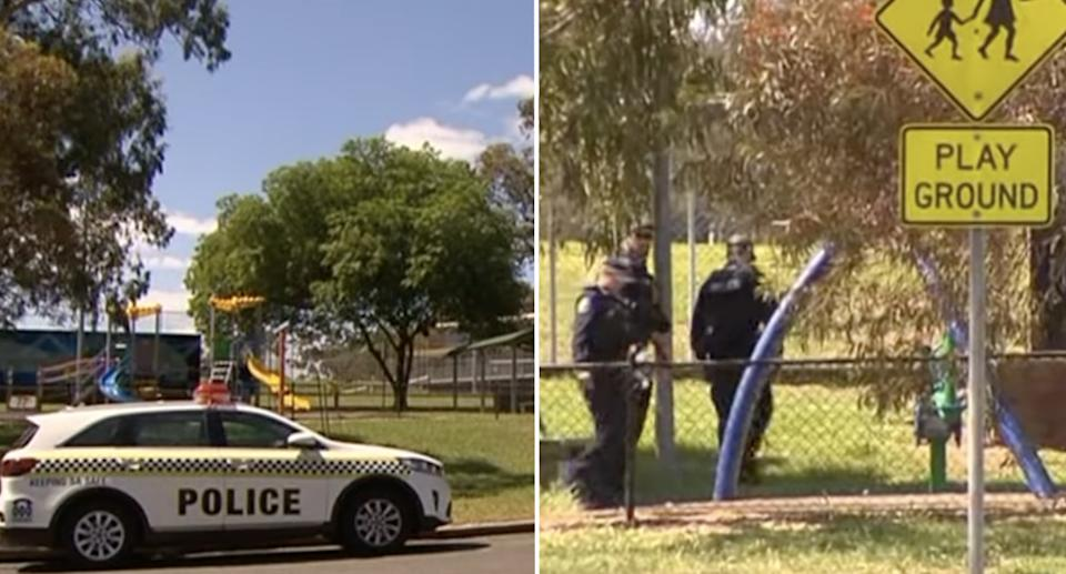Police at the Adelaide park where the boy found the bottle.