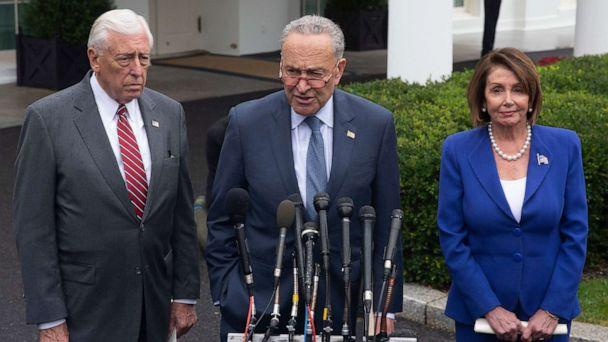 PHOTO: Speaker of the House Nancy Pelosi (R), Senate Minority Leader Chuck Schumer (C), and House Majority Leader Steny Hoyer (L) deliver remarks to members of the news media outside the West Wing of the White House, Oct. 16, 2019. (Michael Reynolds/EPA-EFE/REX via Shutterstock)