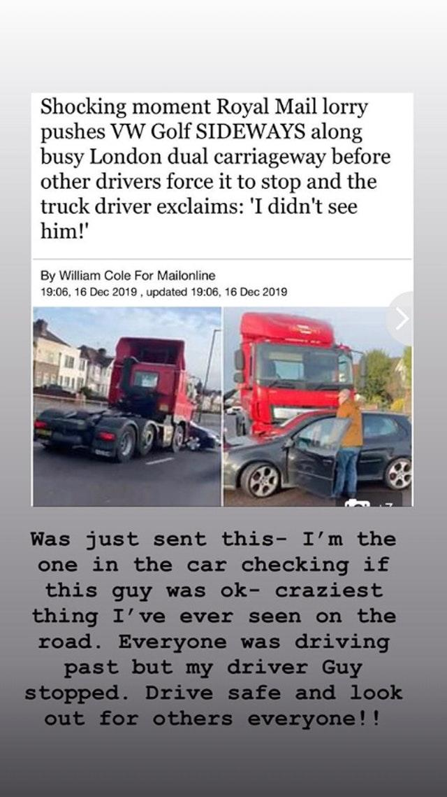 Ellie Goulding comes to the rescue of driver T-boned by Royal Mail van