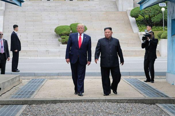 PHOTO: North Korean leader Kim Jong Un and President Donald Trump inside the demilitarized zone (DMZ) separating the South and North Korea, June 30, 2019. (Dong-A Ilbo via Getty Images)