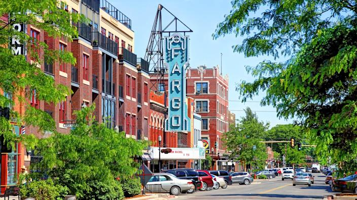 Fargo, North Dakota, USA - June 12, 2017: Daytime view of the Fargo Theatre along Broadway N in the Downtown Historic District.