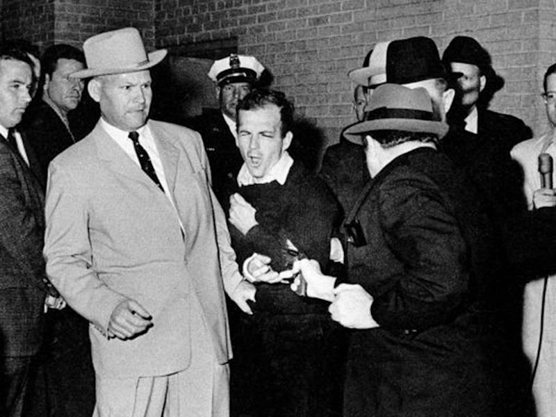 Jack Ruby shoots Lee Harvey Oswald in the basement of the Dallas police headquarters: AP