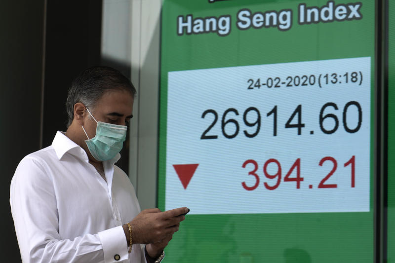 A man walks past an electronic board showing the Hong Kong share index outside a local bank in Hong Kong, Monday, Feb. 24, 2020. Shares are falling in Asia after reports of a surge in new virus cases outside China. South Korea's Kospi led the decline on Monday, falling 3%, while benchmarks also fell in Sydney, Hong Kong and Shanghai. (AP Photo/Kin Cheung)