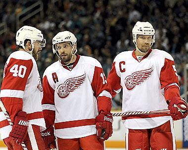 The fact that Henrik Zetterberg (L) and Pavel Datsyuk (C) are in their primes made the choice easier for Lidstrom