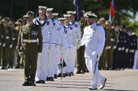 An honor guard is formed at Defence Headquarters in Canberra, Australia, Thursday, Nov. 19, 2020, before findings from the Inspector-General of the Australian Defence Force Afghanistan Inquiry are released. A shocking report into war crimes by elite Australian troops has found evidence that 25 soldiers unlawfully killed 39 Afghan prisoners, farmers and civilians. (Mick Tsikas/AAP Image via AP)