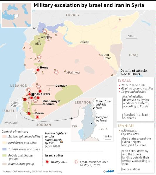 Map of Syria locating the main Israeli strikes on Thursday, the Iranian presence and the rocket attacks attributed to Iran by Israel. (AFP Photo/)