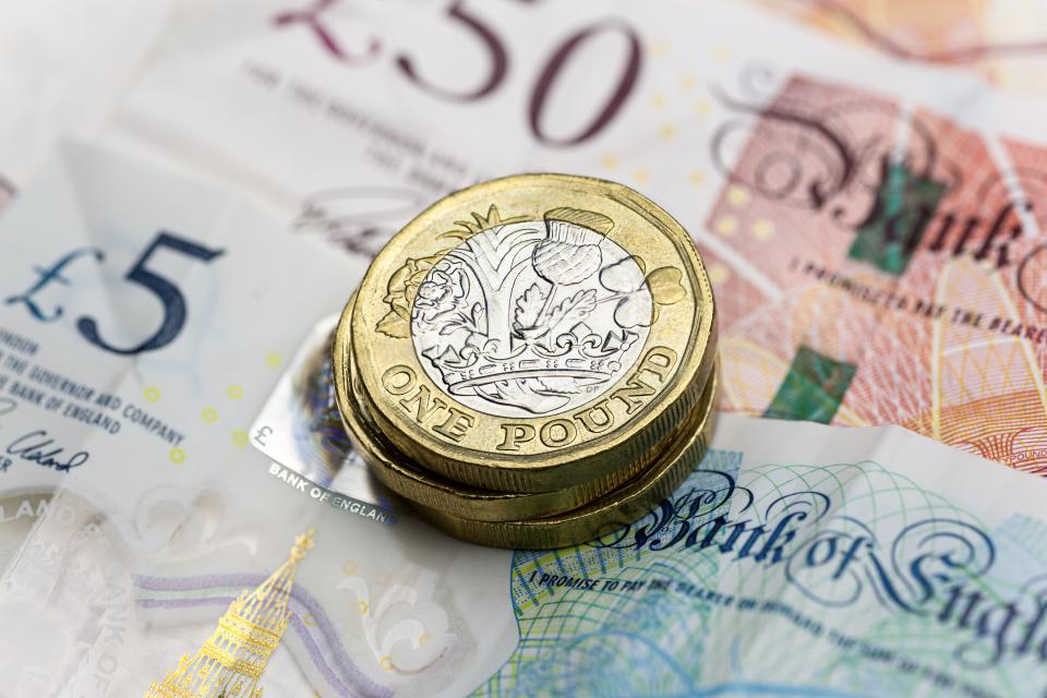 The pound strengthened against a week dollar and strong UK employment market data. Photo: Getty