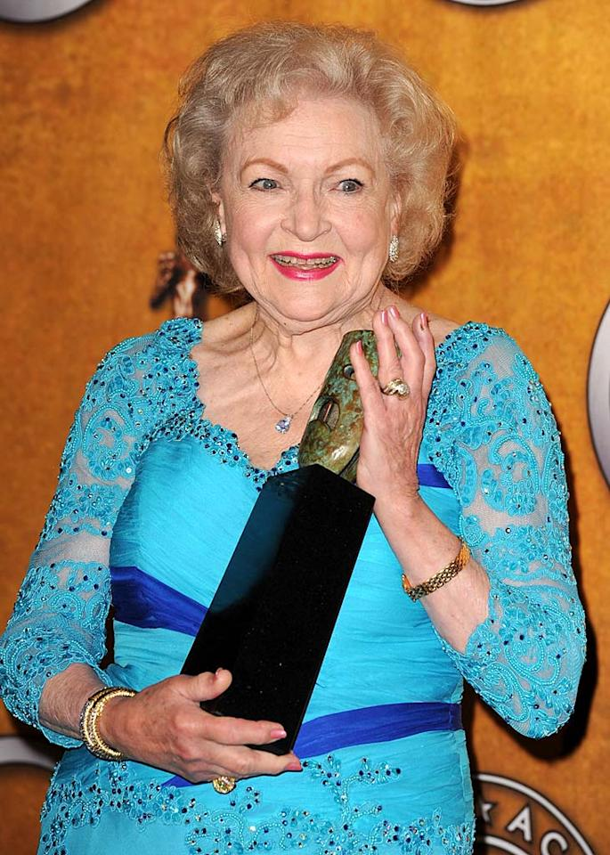 """Betty White wowed the crowd with her hilarious acceptance speech at the 16th Annual Screen Actors Guild Awards when she collected her lifetime achievement award. The Golden Girl came out with such zingers as: """"Anytime anybody asks me in the business, 'What haven't you done that you've always wanted to do?' I would say Robert Redford."""" Classic old-school Hollywood. Love it. Steve Granitz/<a href=""""http://www.wireimage.com"""" target=""""new"""">WireImage.com</a> - January 23, 2010"""