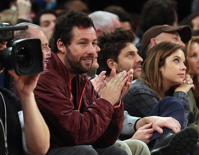 NEW YORK, NY - DECEMBER 08: Adam Sandler takes in the game between the New York Knicks and the Boston Celtics at Madison Square Garden on December 8, 2013 in New York City. NOTE TO USER: User expressly acknowledges and agrees that, by downloading and or using this Photograph, user is consenting to the terms and conditions of the Getty Images License Agreement. (Photo by Bruce Bennett/Getty Images)