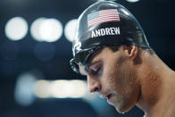 Michael Andrew, of United States, comes off the pool after swimming in the men's 200-meter individual medley final at the 2020 Summer Olympics, Friday, July 30, 2021, in Tokyo, Japan. (AP Photo/David Goldman)