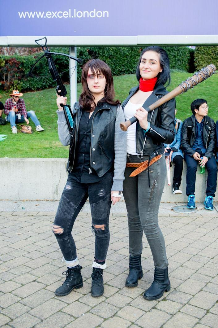 """<p>Everyone will fear the walking dead if you dress up as Daryl Dixon and Negan Smith from <em>The Walking Dead</em> (especially if you bring Lucille along). </p><p><a class=""""link rapid-noclick-resp"""" href=""""https://www.amazon.com/Pacific-Solution-Marketing-Inc-Crossbow/dp/B06WWP71H7?tag=syn-yahoo-20&ascsubtag=%5Bartid%7C10070.g.1923%5Bsrc%7Cyahoo-us"""" rel=""""nofollow noopener"""" target=""""_blank"""" data-ylk=""""slk:SHOP FAKE CROSSBOW"""">SHOP FAKE CROSSBOW</a></p><p><a class=""""link rapid-noclick-resp"""" href=""""https://www.amazon.com/Walking-Dead-Baseball-Replica-Lucille/dp/B075H1B36X?tag=syn-yahoo-20&ascsubtag=%5Bartid%7C10070.g.1923%5Bsrc%7Cyahoo-us"""" rel=""""nofollow noopener"""" target=""""_blank"""" data-ylk=""""slk:SHOP BASEBALL BAT"""">SHOP BASEBALL BAT</a></p>"""