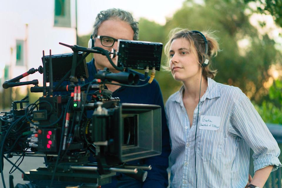 Director Greta Gerwig, right, on set with cinematographer Sam Levy. (Photo: A24/courtesy Everett Collection)