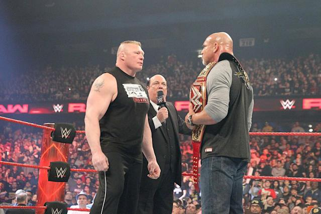 Brock Lesnar challenges Bill Goldberg for the WWE Universal Championship on Sunday at WrestleMania 33. (WWE)