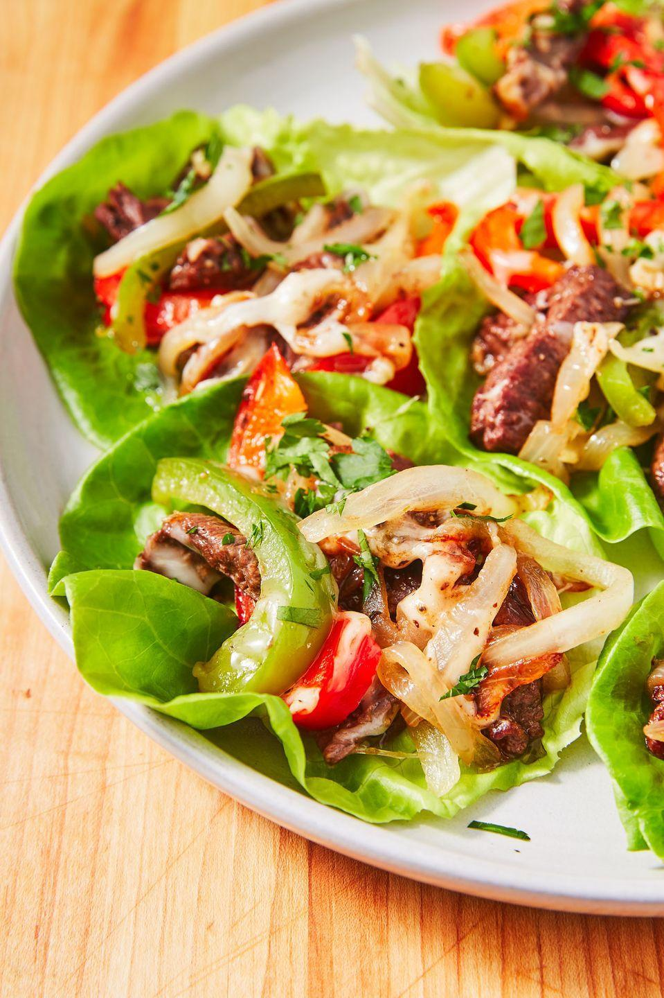"""<p>No carb Philly cheesesteaks with a twist. </p><p>Get the recipe from <a href=""""https://www.delish.com/cooking/recipe-ideas/recipes/a57493/no-carb-philly-cheesesteaks/"""" rel=""""nofollow noopener"""" target=""""_blank"""" data-ylk=""""slk:Delish"""" class=""""link rapid-noclick-resp"""">Delish</a>.</p>"""
