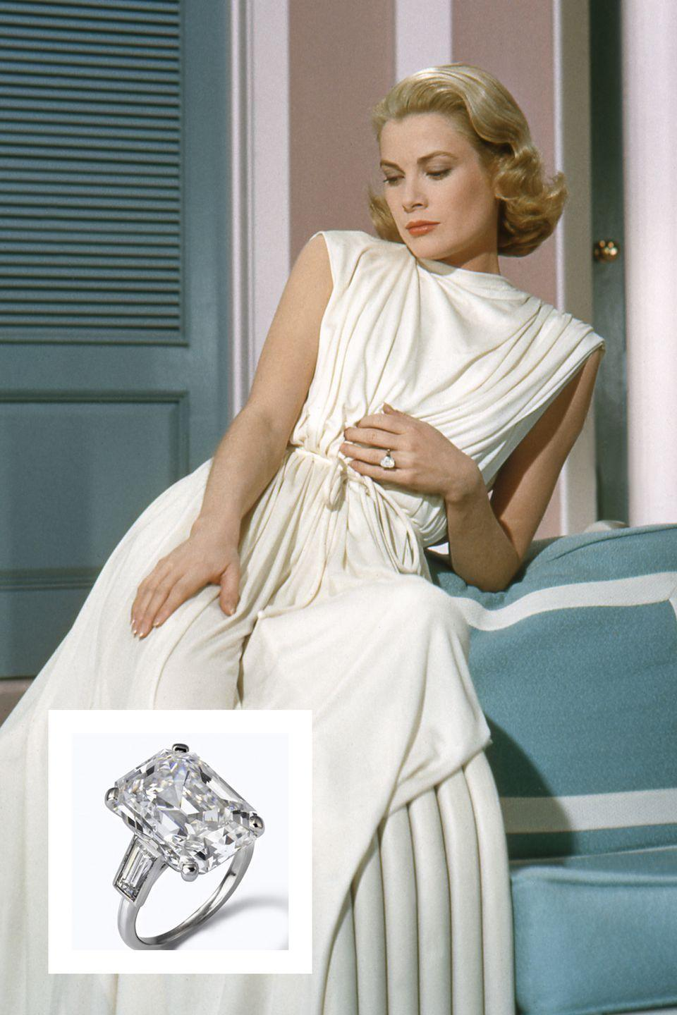 """<p><a href=""""https://www.townandcountrymag.com/style/jewelry-and-watches/g13060157/famous-royal-engagement-rings/?slide=5"""" rel=""""nofollow noopener"""" target=""""_blank"""" data-ylk=""""slk:Prince Rainier III of Monaco proposed to Kelly"""" class=""""link rapid-noclick-resp"""">Prince Rainier III of Monaco proposed to Kelly</a> with a gorgeous 10.47 carat emerald-cut diamond by Cartier. The ring featured two baguette diamonds on each side. <a href=""""https://www.townandcountrymag.com/society/tradition/a12787551/grace-kelly-wedding/"""" rel=""""nofollow noopener"""" target=""""_blank"""" data-ylk=""""slk:The couple wed in a fairytale wedding in 1956"""" class=""""link rapid-noclick-resp"""">The couple wed in a fairytale wedding in 1956</a>, and the stunning ring is estimated to be worth $4.06 million, <a href=""""http://www.whowhatwear.com/celebrity-engagement-rings-expensive/slide15"""" rel=""""nofollow noopener"""" target=""""_blank"""" data-ylk=""""slk:Who What Wear reports."""" class=""""link rapid-noclick-resp""""><em>Who What Wear</em> reports.</a></p>"""