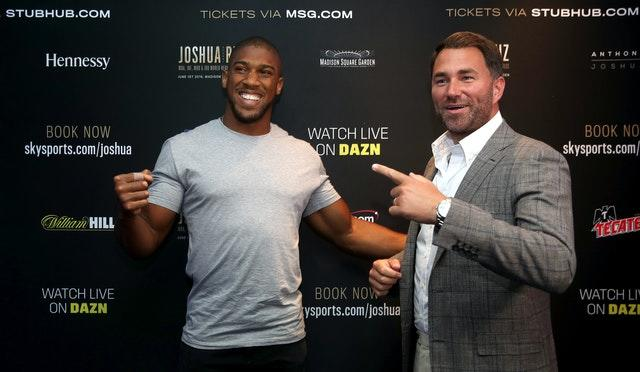 Eddie Hearn has ruled out the prospect of Anthony Joshua fighting behind closed doors