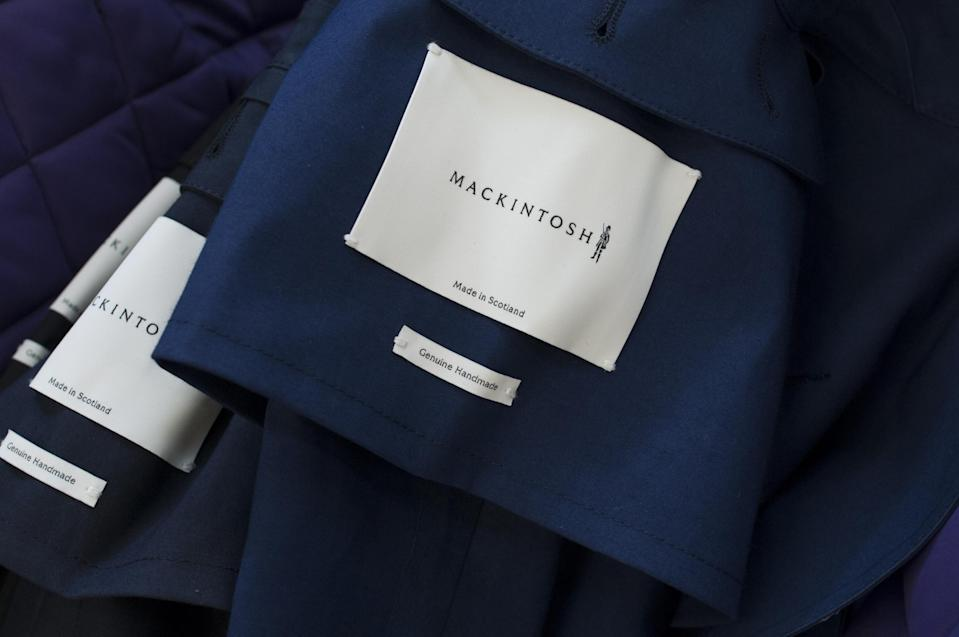 Labels on traditionally-constructed Mackintosh coats - still made in the UK by specialist hand-craft