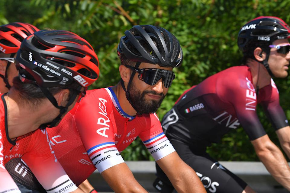 TURIN ITALY  AUGUST 05 Nacer Bouhanni of France and Team Arkea  Samsic  during the 101st Milano  Torino 2020 a 198km race from Mesero to Stupinigi  Turin  MilanoTorino  on August 05 2020 in Stupinigi  Turin Italy Photo by Tim de WaeleGetty Images