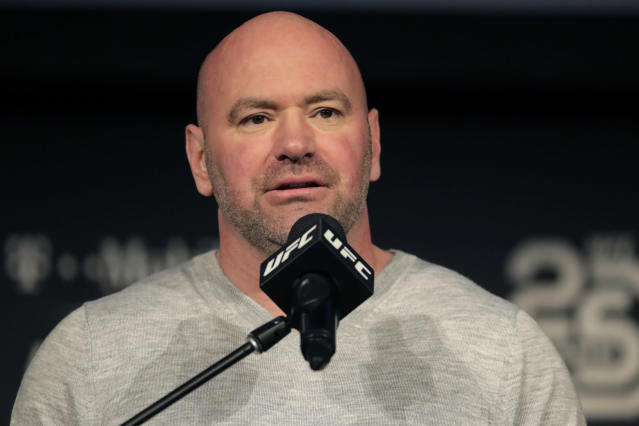 "FILE - In this Nov. 2, 2018, file photo, UFC president Dana White speaks at a press conference in New York. The UFC is returning to competition on May 9 with three shows in eight days in Jacksonville, Florida. The mixed martial arts promotion announced its plans Friday, April 24, 2020, to return to action after postponing and canceling several shows due to the coronavirus pandemic. Dana White also plans to hold shows on May 13 and May 16 at the same arena in Florida. Only ""essential personnel"" will be in the arena, according to White. (AP Photo/Julio Cortez, File)"