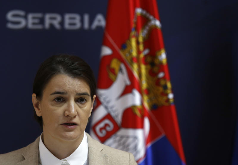 In this photo taken Tuesday, Nov. 21, 2017, Serbian Prime Minister Ana Brnabic speaks during a press conference in Belgrade, Serbia. Serbia's prime minister warned on Wednesday that the formation of a Kosovo army could trigger Serbia's armed intervention in the former province — the bluntest warning so far amid escalating tensions in the Balkans. (AP Photo/Darko Vojinovic)