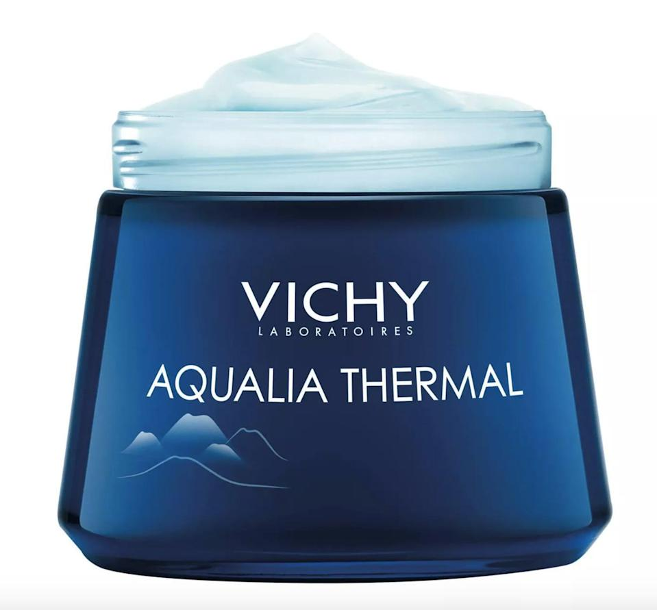 <p>A dollop of the <span>Vichy Aqualia Thermal Night Spa Anti Fatigue Night Cream and Face Mask </span> ($28) will nourish your face to new heights. It is rich in hyaluronic acid and mineral water to hydrate every layer of your skin.</p>