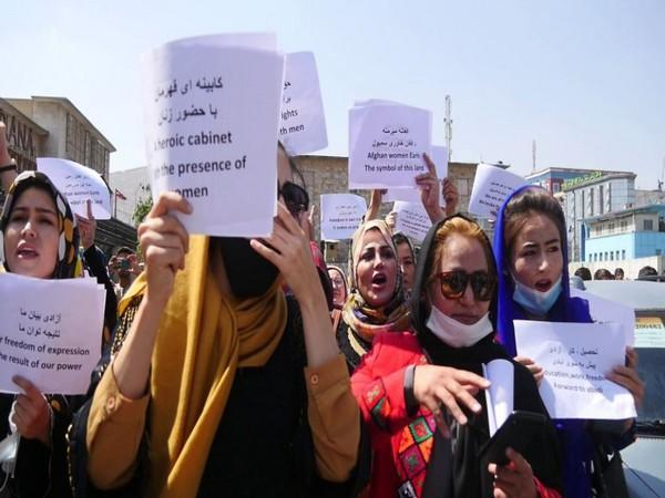 Afghan women activists protesting, demanding rights and representation in the new government.