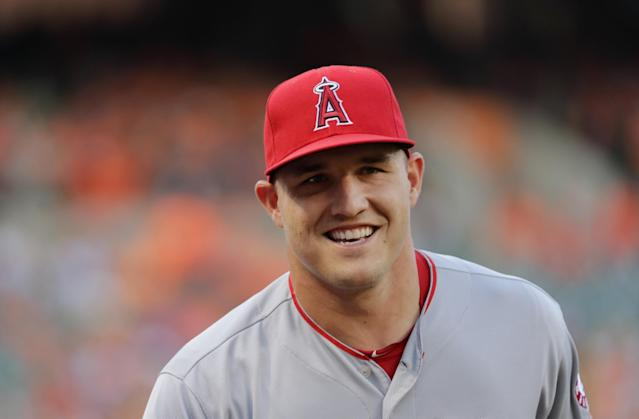 "<a class=""link rapid-noclick-resp"" href=""/mlb/players/8861/"" data-ylk=""slk:Mike Trout"">Mike Trout</a> isn't just an Angels player, he's an Eagles fan from New Jersey. And he'll love the Eagles' choice of practice venue this week. (AP Photo)"