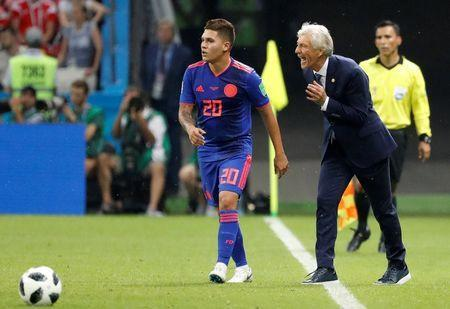 Soccer Football - World Cup - Group H - Poland vs Colombia - Kazan Arena, Kazan, Russia - June 24, 2018 Colombia coach Jose Pekerman reacts as Juan Fernando Quintero looks on REUTERS/Toru Hanai