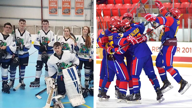 On the left, some members of the Irish Flying Ducks hockey team pose for a photo on in-line skates, while Nunavut male hockey players celebrate their performance at the Canada Winter Games in Alberta. Photos from Aisling Daly via CBC News and Hunter Tootoo via Twitter.