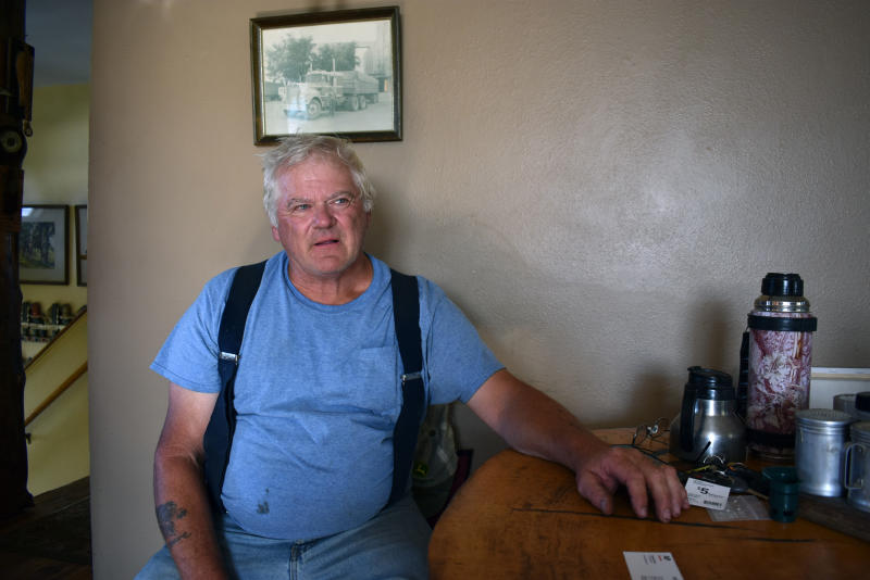 David Saylor, whose then-stepson has confessed to the 1998 murder an 18-year-old Montana video store clerk, speaks about the case Wednesday, Aug. 21, 2019 at his home in Laurel, Mont. Saylor says he told investigators in the aftermath of the murder that stepson Zachary David O'Neill had been at The Movie Store minutes before Miranda Fenner was killed. (AP Photo/Matthew Brown)