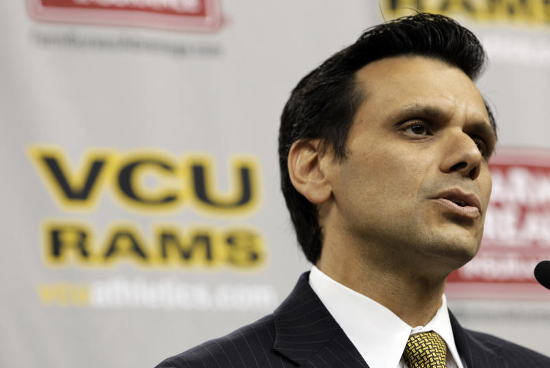 Virginia Commonwealth University president Michael Rao speaks during a press conference in Richmond, Va., Tuesday, May 15, 2012. Rao announced that VCU would join the Atlantic 10 conference in June. (AP Photo/Steve Helber)