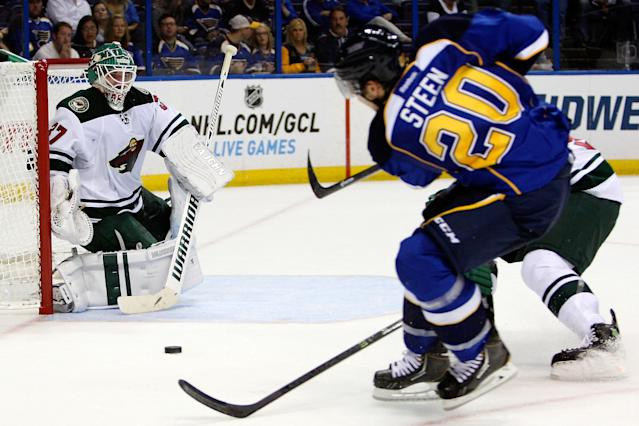 Minnesota Wild goalie Josh Harding blocks a shot on goal from St. Louis Blues' Alexander Steen during the second period of a preseason NHL hockey game Friday, Sept. 27, 2013, in St. Louis. (AP Photo/Scott Kane)