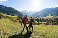 """<p>What better season than fall to take a nice leaf-peeping stroll? """"Exploring nature reduces stress and enhances calmness, while <a href=""""https://www.oprahdaily.com/life/health/a31944589/benefits-of-walking/"""" rel=""""nofollow noopener"""" target=""""_blank"""" data-ylk=""""slk:walking and being present"""" class=""""link rapid-noclick-resp"""">walking and being present</a> releases the happy and love hormones: serotonin and oxytocin. This promotes bonding and betters your shared mood. It's a perfect date to relax and get to know one another,"""" says Dr. Bryant. Feel free to <a href=""""https://www.oprahdaily.com/life/food/g28099287/fall-cocktails/"""" rel=""""nofollow noopener"""" target=""""_blank"""" data-ylk=""""slk:bring along a (spiked) cider"""" class=""""link rapid-noclick-resp"""">bring along a (spiked) cider</a>.</p>"""