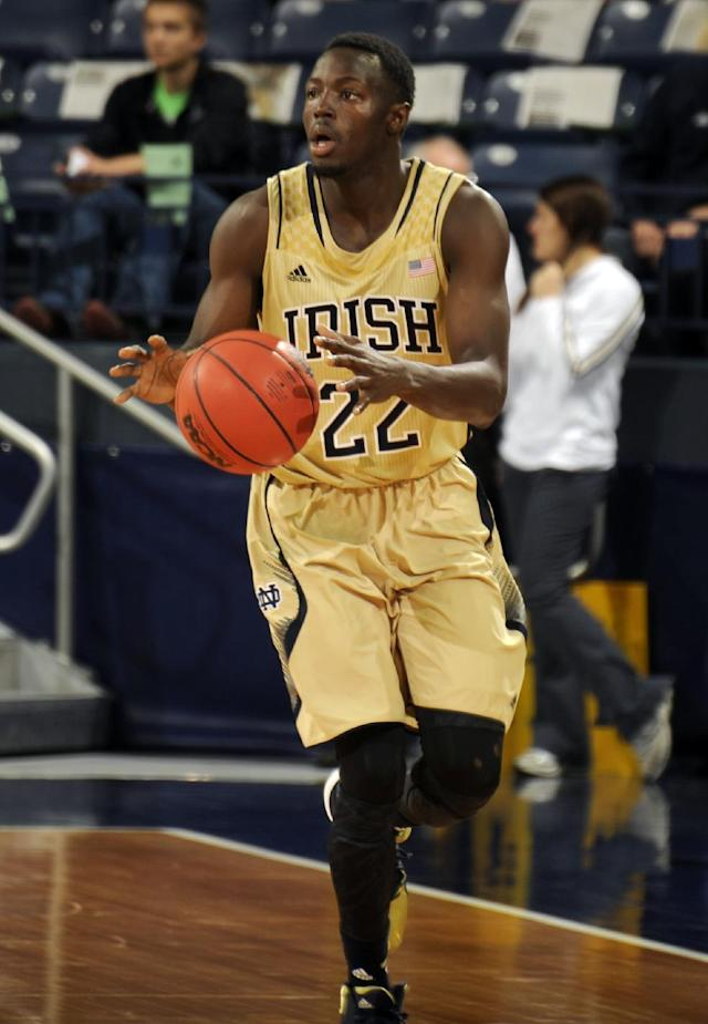 Notre Dame guard Jerian Grant heads upcourt during the second half of an NCAA college basketball game against Stetson, Sunday, Nov. 10, 2013, in South Bend, Ind. Notre Dame won 80-49. (AP Photo/Joe Raymond)
