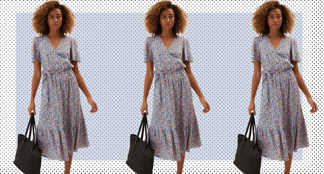 Dress of the day: Floral Angel Sleeve Midi Wrap Dress. (Marks & Spencer)