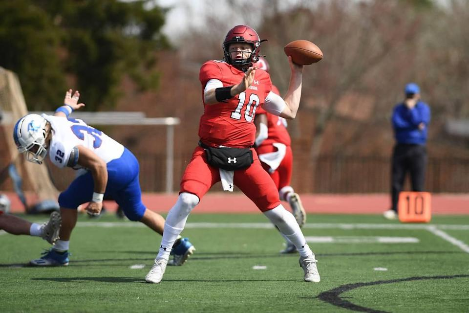 """Quarterback Tyler Phelps has been Davidson's starting QB for most of the past four years and is almost like """"an assistant coach on the field,"""" according to Davidson head coach Scott Abell."""