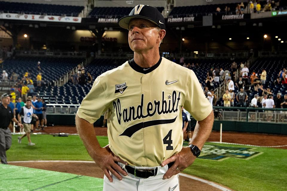 Vanderbilt head coach Tim Corbin reacts after their victory over Michigan in game three of the 2019 NCAA Men's College World Series Finals at TD Ameritrade Park Wednesday, June 26, 2019, in Omaha, Neb.
