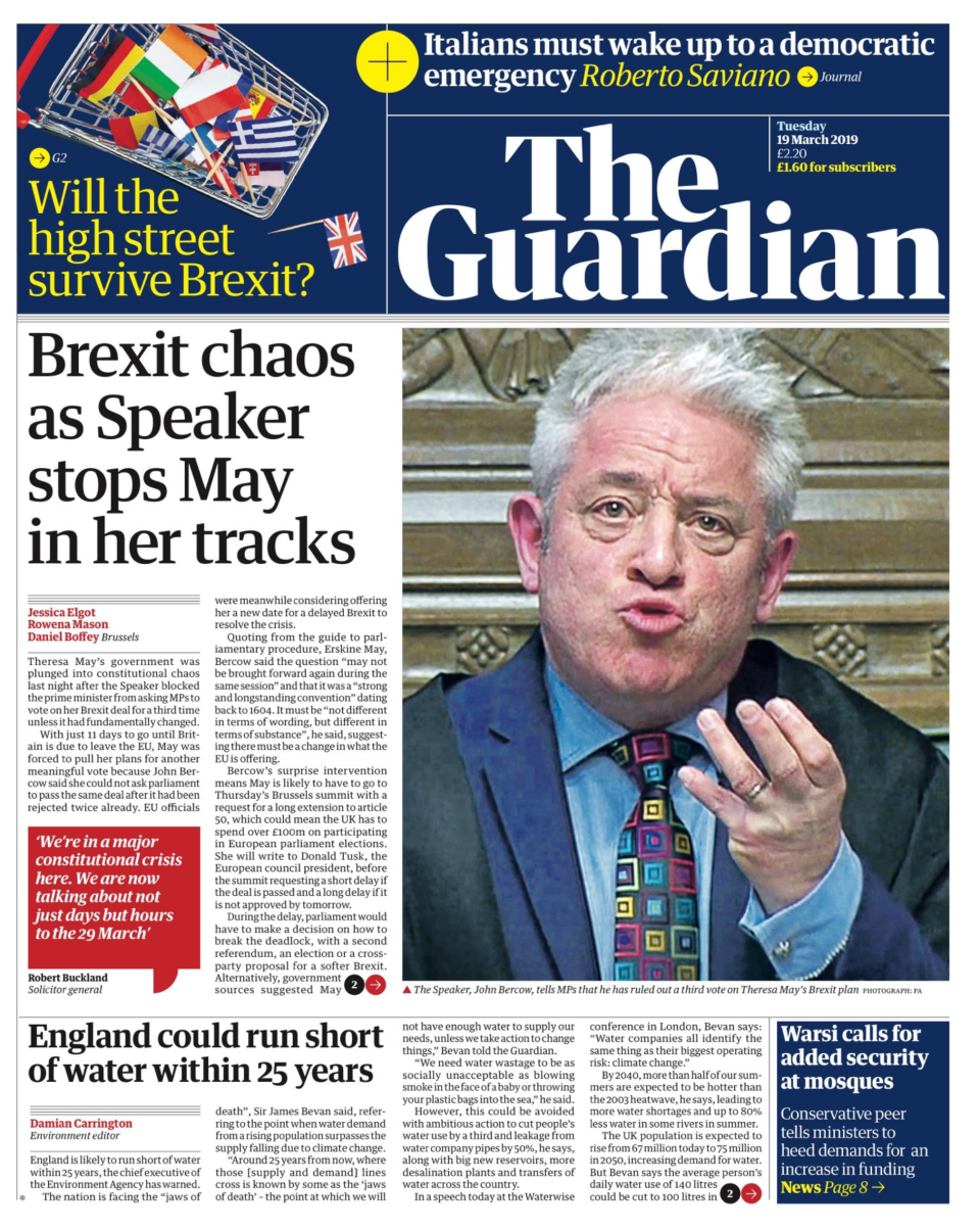 <p>Brexit chaos as Speaker stops May in her tracks – The Guardian called Bercow's move a 'surprise intervention', and warned that the UK could spend over £100 million if it had a longer extention to Brexit. </p>