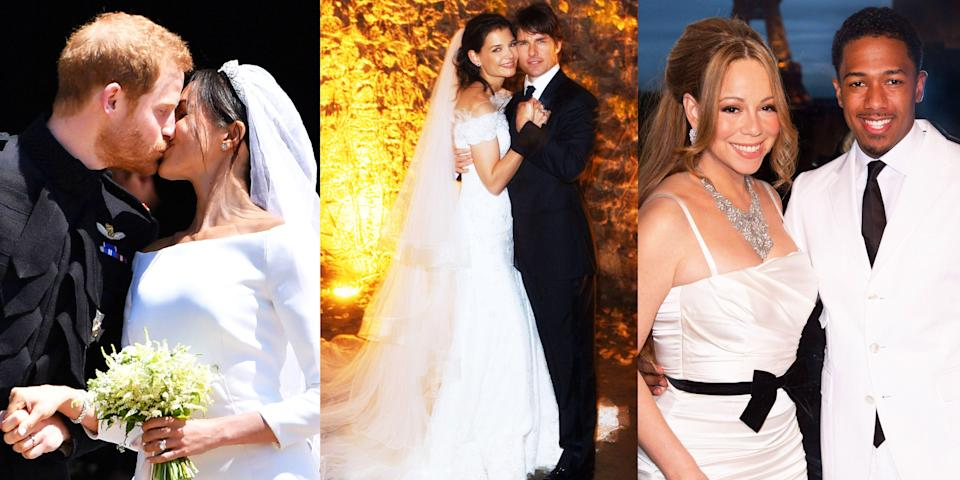 "<p>When you're a celebrity, all bets are off when it comes to your wedding day. Some A-listers don't always live by this rule and prefer to keep things low-key (lookin' at you, <a href=""https://www.marieclaire.com/celebrity/a33977839/lily-allen-david-harbour-married-las-vegas/"" rel=""nofollow noopener"" target=""_blank"" data-ylk=""slk:Lily Allen, and David Harbour"" class=""link rapid-noclick-resp"">Lily Allen, and David Harbour</a>), while others go all out. This usually means destination weddings, six-figure wedding gowns, spending insane amounts of money on security to keep paparazzi at bay, and a bunch of other expensive details. After all, it's a once-in-a-lifetime event...well, for some. Ahead, dive into some of the most expensive weddings of all time, and perhaps find some inspiration for your own special day. (A girl can dream.)</p>"